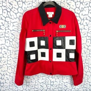 Cache Isabella Sole Red Denim Leather Race Jacket
